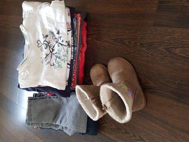 Paka zestaw ubrań dla dziewczynek r 104 plus buty r. 24 jesień zima