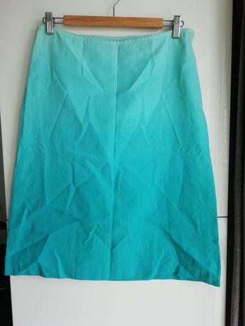 Lniana turkusowa spódnica H&M rozm. 38