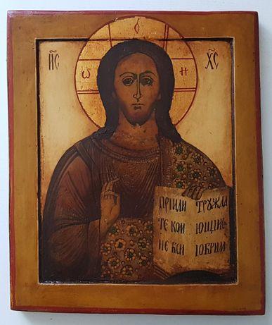 Ikona Jezus Chrystus, kovczegh, Rosja XIX wiek, wymiary 31,2/26,5/2