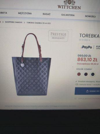 Torebka shopper Wittchen czarna kolekcja premium