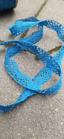 Koronka bawełniana niebieska błękitna 1,5 cm x 30 mb