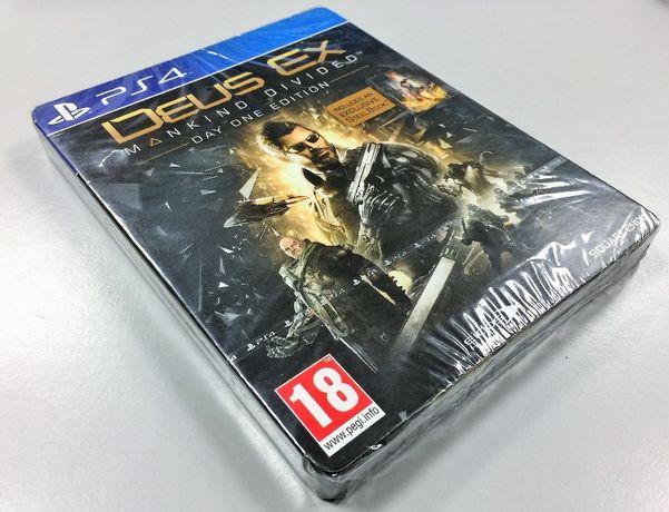 Deus Ex: Mankind Divided Day One Edition PS4 NOVO/SELADO - Caixa Metal