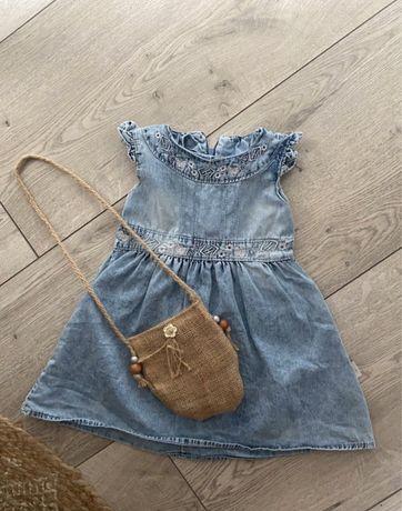 Sukienka jeansowa z torebka boho