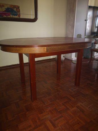 Mesa em madeira oval extensível 156(+30)x110 bom preço