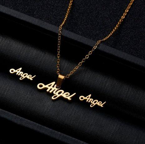*ANGEL* Śliczny Złoty Komplet Biżuterii Łańcuszek Zawieszka Kolczyki