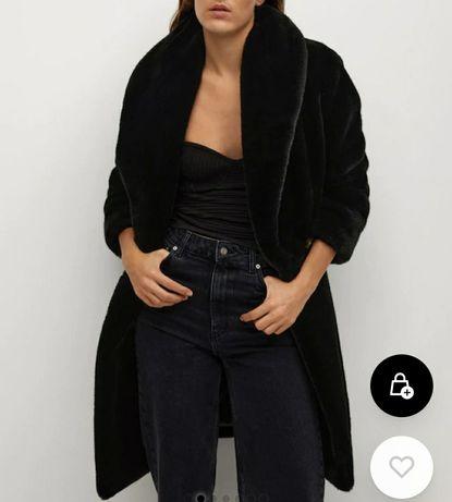 Płaszcz futrzany xs mango czarny. Miś. Futerko