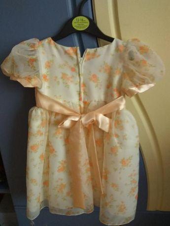 Очень нарядное оранжево-белое платье для девочки 1-2 года