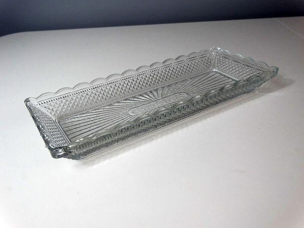 Salaterka Śledziówka Patera Podłużna Kryształ Szkło PRL Vintage