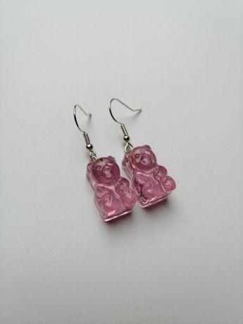 kolczyki z misiami różowe malinowe