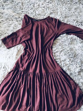 Платье/сукня с баской. Бордовое. XS размер.