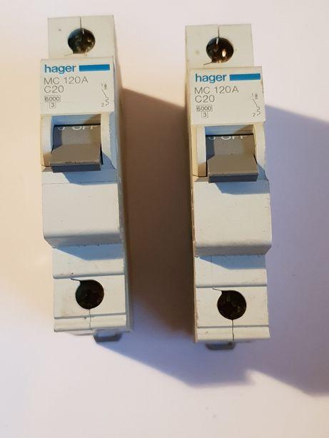 Bezpiecznik, wyłącznik nadprądowy. Hager , C20, 120A.