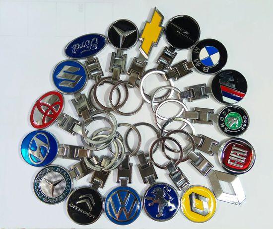 Брелок для ключей металлический с логотипом Mercedes, BMW, Skoda, Ford