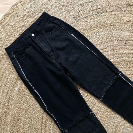Spodnie mom jeans z łączonych materiałów z wysokim stanem