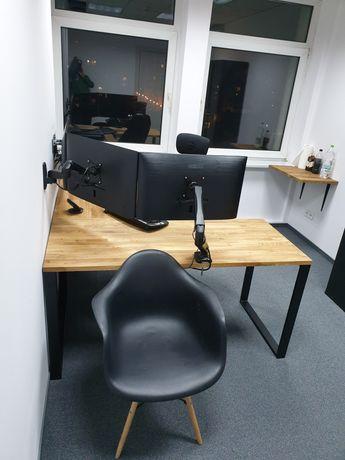 Narożne biurko, industrialne, loft, dąb