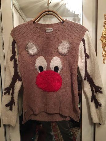 Новогодний свитер с оленем Next