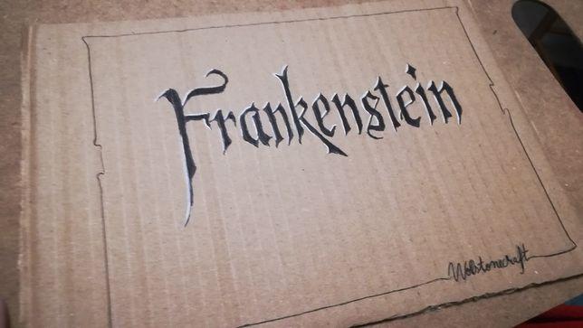 Frankenstein desenho de caligrafia a tinta, caneta e grafite 24,5x17cm