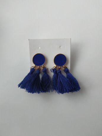 Kolczyki z frędzelkami niebieskie