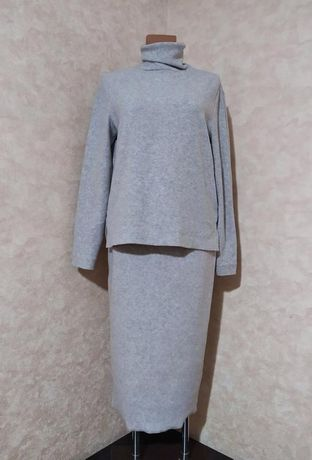 Серый трикотажный костюм, юбка миди, goldi, m-l