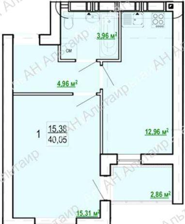 ЖК Гидропарк. Продам 1 комнатную квартиру 40м2 РА