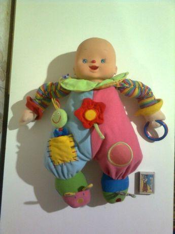 39см кукла музыкальная погремушка пупс хохотун развивалка растяжка