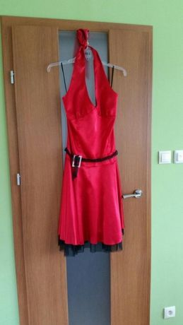 Czerwona sukienka + czarne bolerko 38/40