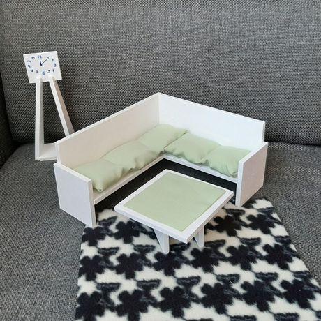 Kanapa dla lalki Barbie sofa stół zegar dywan domek mebelki mebl