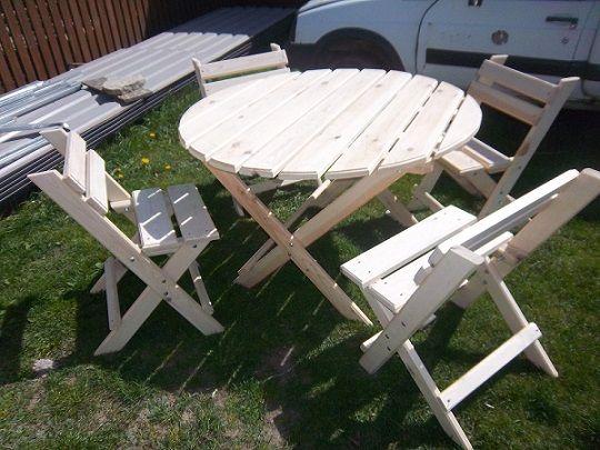 Meble ogrodowe stol z lakwami krzesla wysylka