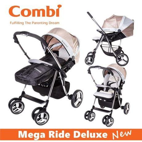 Коляска COMBI Mega Ride Deluxe плюс подарок конверт и муфта с овчины