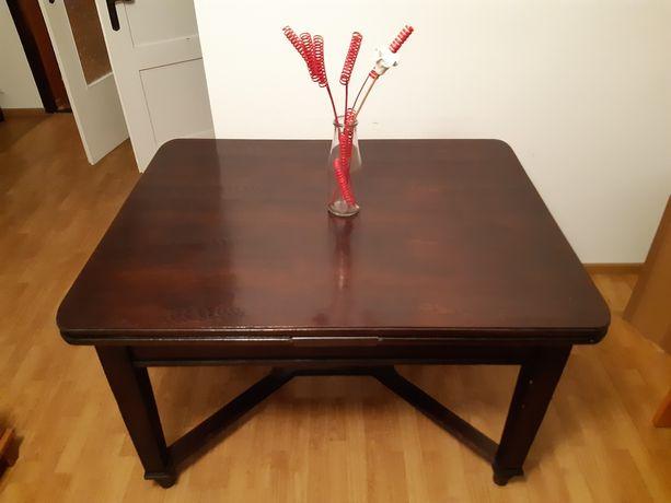 Solidny duży stół drewniany rozkładany z krzesłami (antyk)