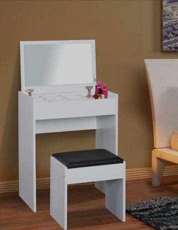 NOWA Toaletka stolik kosmetyczny ze stołkiem biała