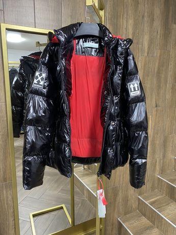 Off white черная и серебро мужская куртка зимняя теплая пуховик