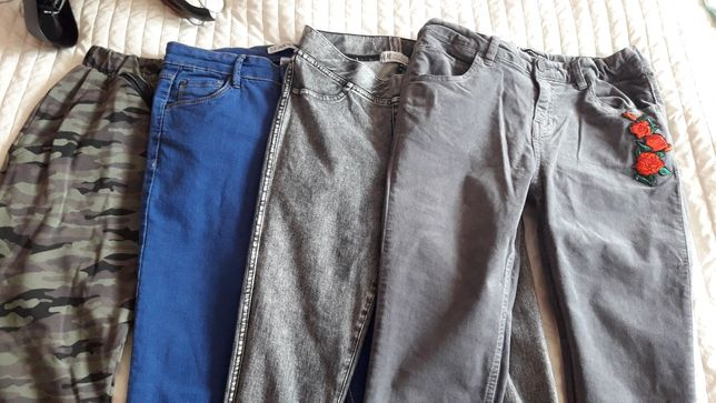 Spodnie skinny baggy h&m reserved 158 4 sztuki