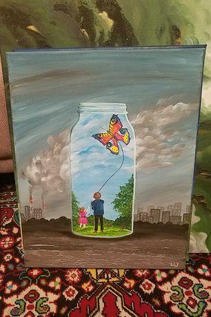 """Obraz akryl abstrakcja """"Mój mały świat"""" 40x50"""
