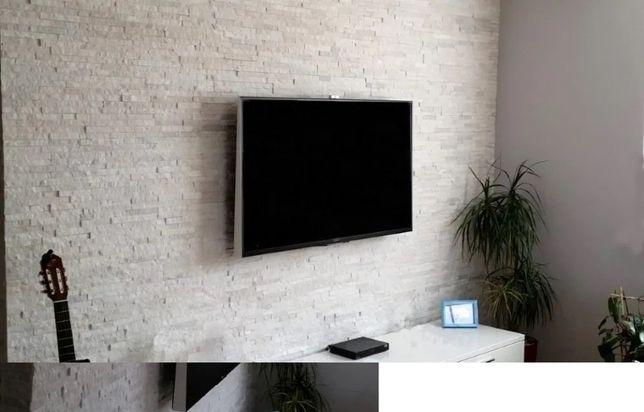 Panel kamienny, łatwy montaż, naturalny kamień, kwarcyt, ściana TV