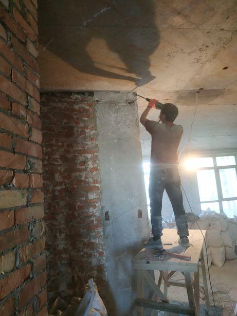 Демонтаж и монтаж стен штукатурки краски резка проёма укрепления стен.