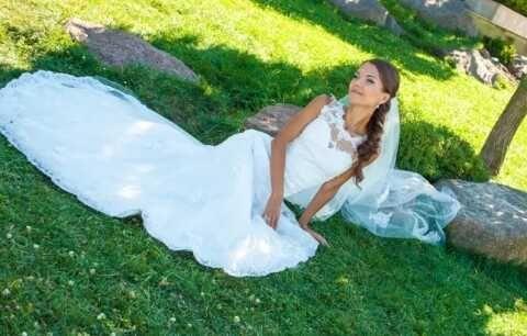 Свадебное платье красивое А силует