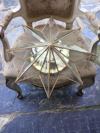 Candeeiro em latão e vidro anos 60 vintage 52 cm diâm Antigo italiano