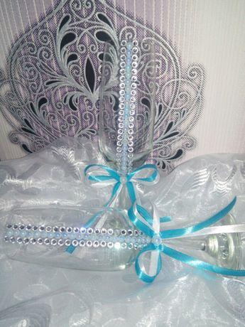 Свадебные бокалы голубые Весільні бокали блакитні