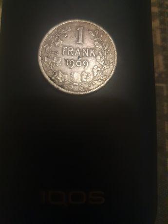 Продам серебряную монету 1 франк 1909г.