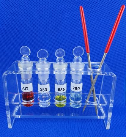 Stojak + szklana probówka bagietka ciecz probiercza Lombard Skup złota