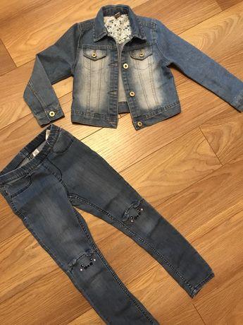 Джегинсы hm, джинсовая куртка TU р.128