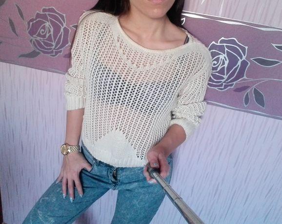 Ażurowy sweterek S stan idealny hot blogerski S beżowy hipster jesień