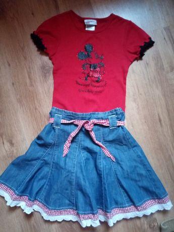 Spódnica jeans + bluzka myszka Miki 7-8 lat