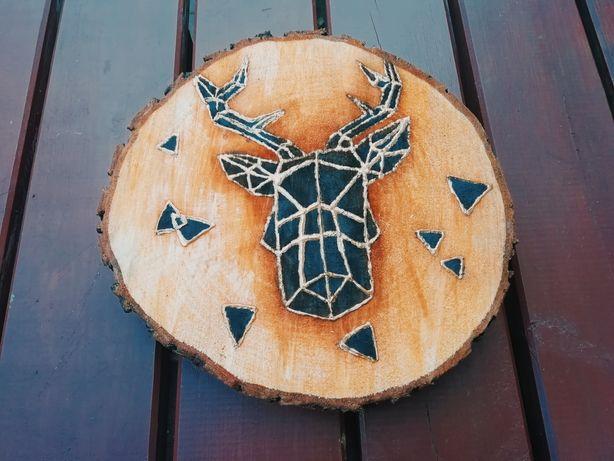 Obraz na plastrze drewna przedstawiający geometrycznego jelenia, 27cm