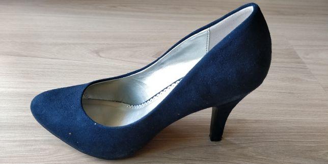 buty damskie, zamszowe, rozmiar 37, szpilki, granatowe