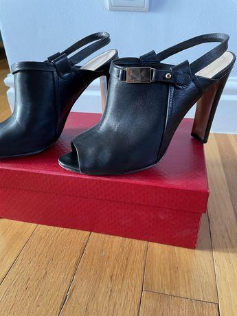 Sandałki damskie czarne skórzane