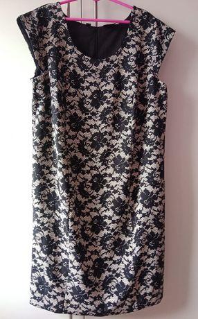 Elegancka, wizytowa, czarno-biała sukienka w kwiaty, rozmiar 52