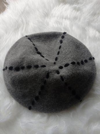Beretka beret czapka z wełną