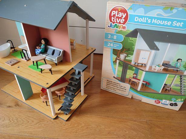 Drewniany domek dla lalek - stan idealny