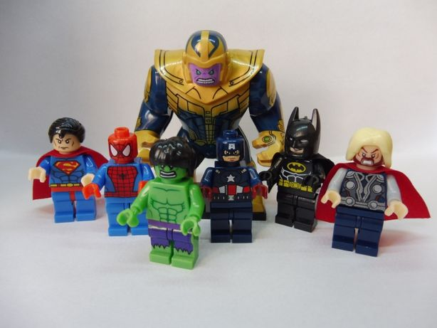 Klocki Avengers Thor Spiderman Batman Superman Hulk Thanos Wolverine